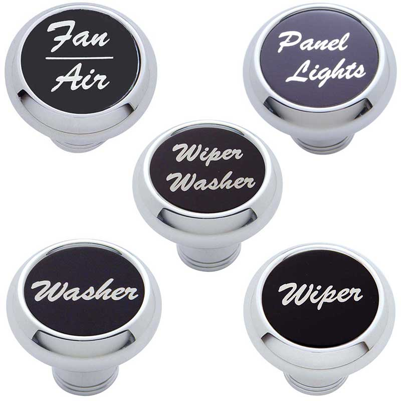 United Pacific Chrome Aluminum Wiper//Washer Dash Knob With Stainless Steel Plaque