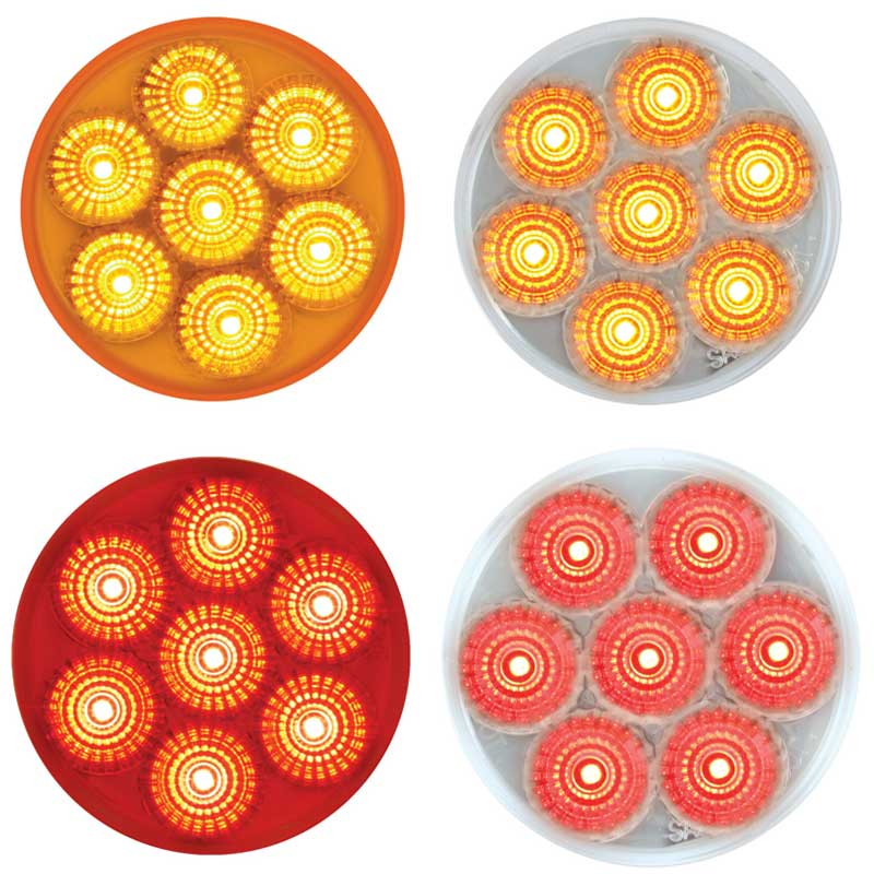 "2/"" Round Amber Dual function 7 LED Low profile marker clearance light 76625"
