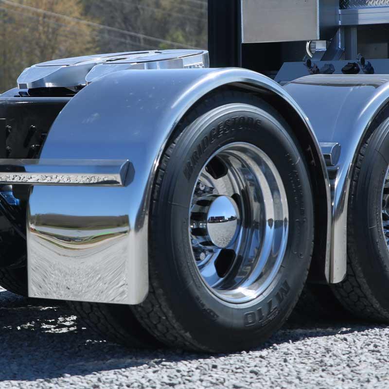 Big Rig Fenders : Stainless single axle fenders big rig chrome shop semi