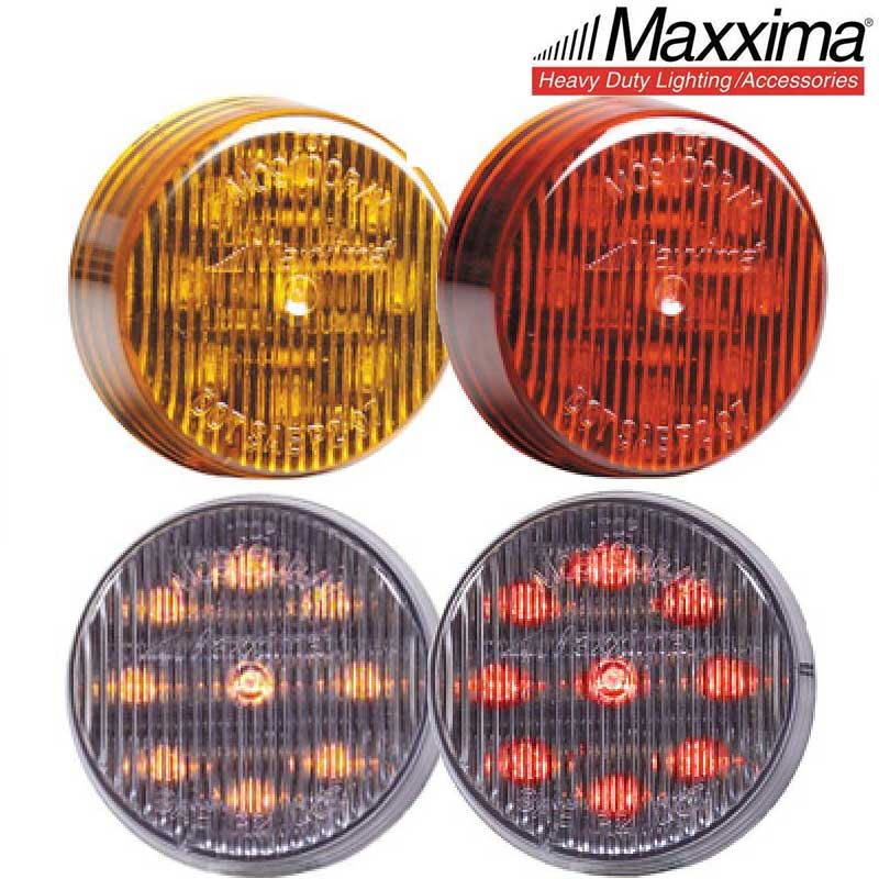 Maxxima M20380YCL-SP Amber 1.8 Round 3 LED Strobe Light with Clear Lens