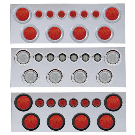 Red LED//Clear Lens Rear Center Panel w// Four 7 LED Reflector Lights /& Visors