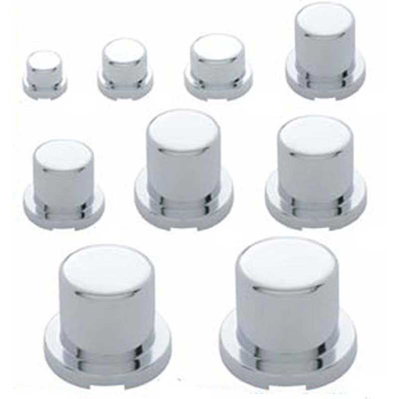 20 Pack 33mm Chrome Lug Nut Covers Tall Pointed PUSH ON ABS Plastic