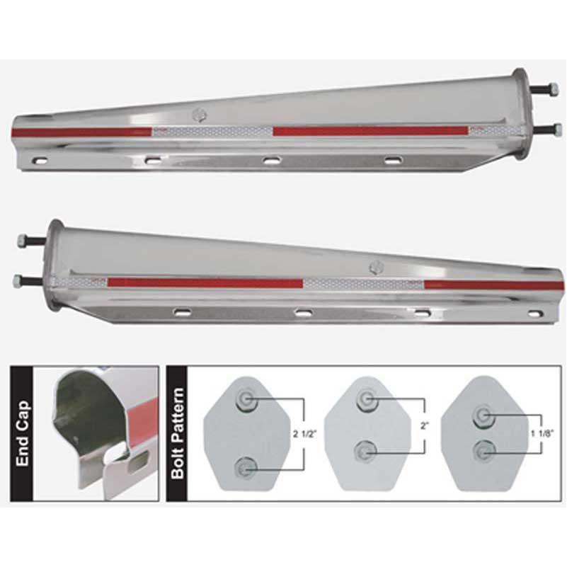 TRMFH301 Chrome Mud Flap Hanger Pair Set 30 Inch Straight Angled 2-1//2 inch Bolt Pattern
