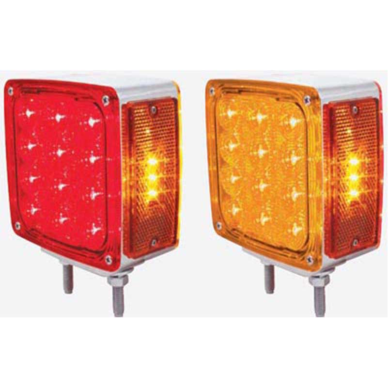 turn signal lights rectangle square led big rig chrome. Black Bedroom Furniture Sets. Home Design Ideas