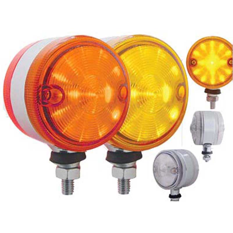 17 LED Dual Function Watermelon Double Face Light Amber /& Red LED//Clear Lens